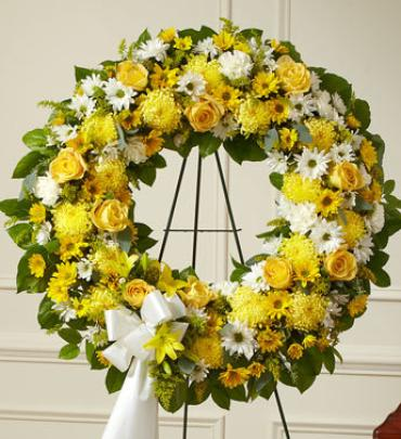 Serene Blessings Yellow Standing Wreath
