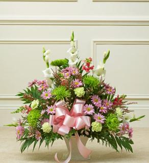 Heartfelt Tribute Pastel Floor Basket Arrangement
