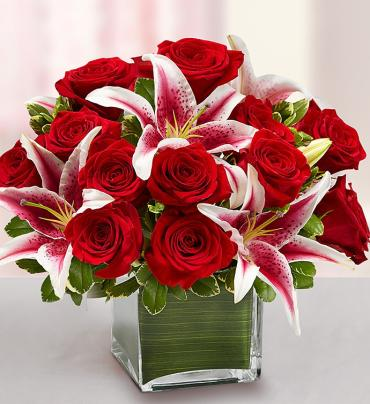 "Modern Embraceâ""¢ Red Rose and Lily Cube"